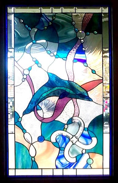 Abstract Dolphin Stained Glass Panel