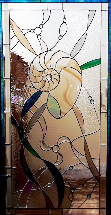 Abstract Nautilus Stained Glass Panel