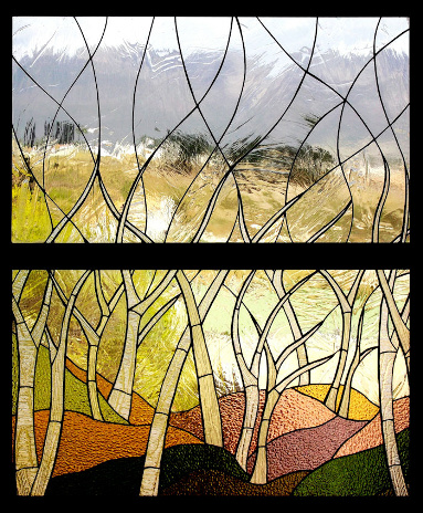 Abstract Trees Stained Glass Panel