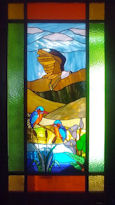fauna style stained glass window