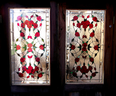 Floral Roses Stained Glass Panels Version 2