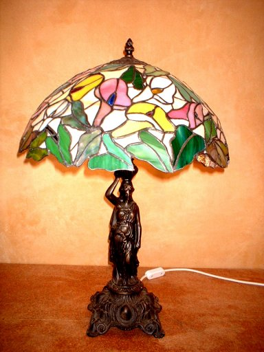 Arum Lillies Stained Glass Lamp