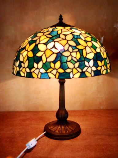 Daffodils Blue Stained Glass Lamp