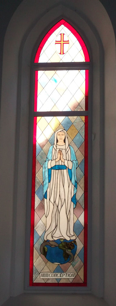 Mary stained glass panel